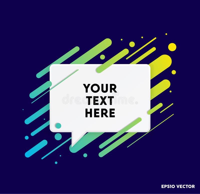 Zone de texte moderne avec les rayures colorées et le fond bleu-foncé Idéal pour des citations de motivation Illustration de vect illustration de vecteur