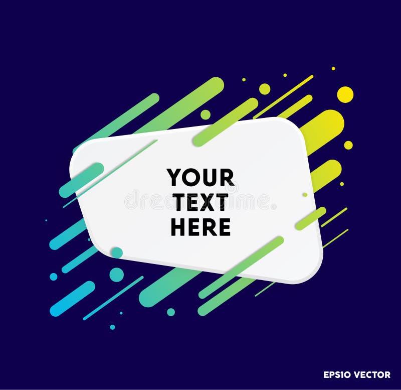 Zone de texte moderne avec les rayures colorées et le fond bleu-foncé Idéal pour des citations de motivation Illustration de vect illustration libre de droits