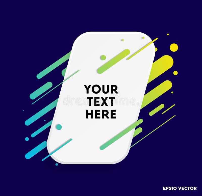 Zone de texte moderne avec les rayures colorées et le fond bleu-foncé Idéal pour des citations de motivation Illustration de vect illustration stock