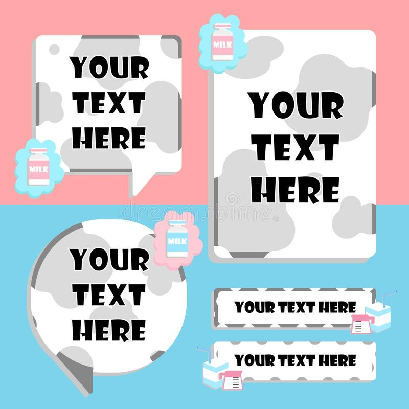Zone de texte de vache et de lait, bulle de la parole, ensemble de bannière illustration libre de droits