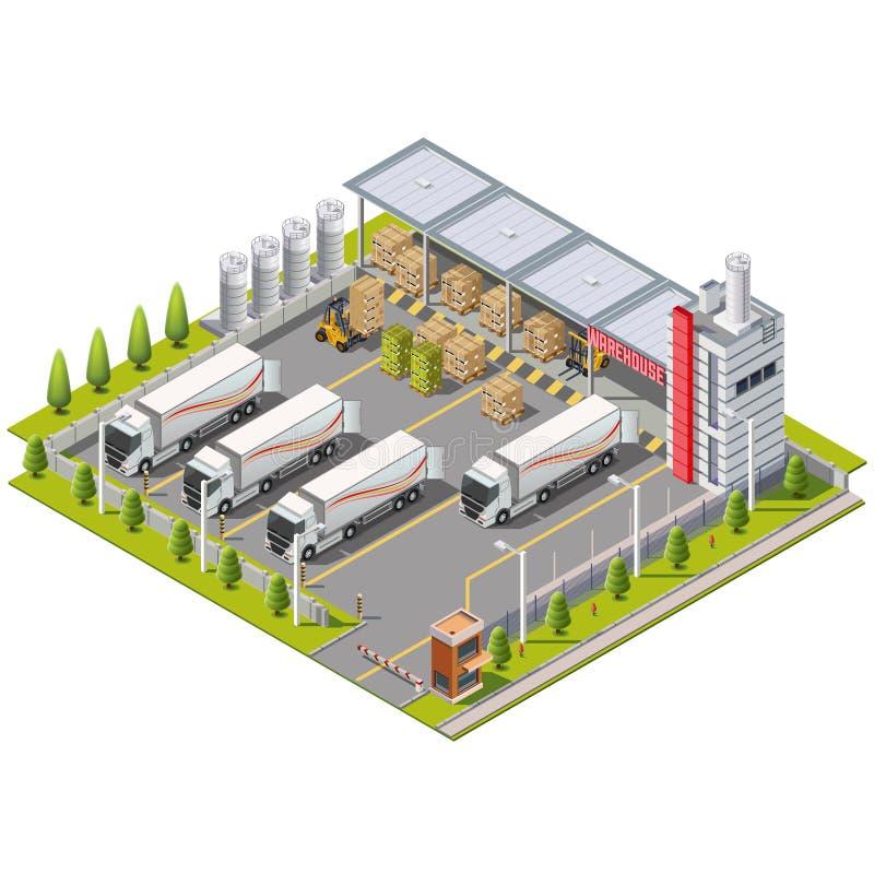 Zone industrielle d'entrepôt avec l'allocation des places pour le chargement illustration libre de droits