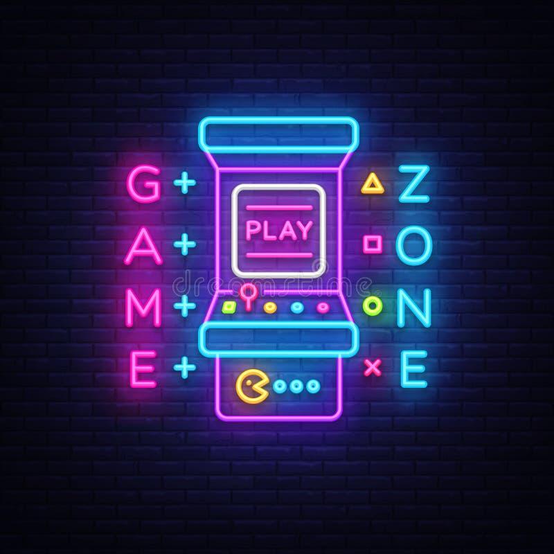 Zone Logo Vector Neon de jeu Panneau d'enseigne au néon de pièce de jeu, calibre de conception, la publicité d'industrie de jeu,  illustration libre de droits