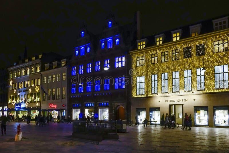 Zone piétonnière Stroeget à Copenhague photos libres de droits