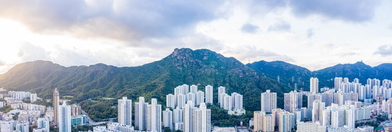 Zone résidentielle sous Lion Rock Mountain, Kowloon, Hong Kong photos stock
