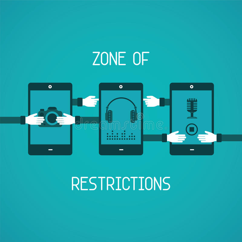 Zone of restrictions for gadget vector concept in flat style.  royalty free illustration