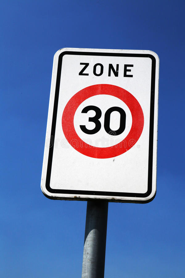 Zone 30. Slow and safe driving in a zone 30 km/h or 30 mph royalty free stock photos