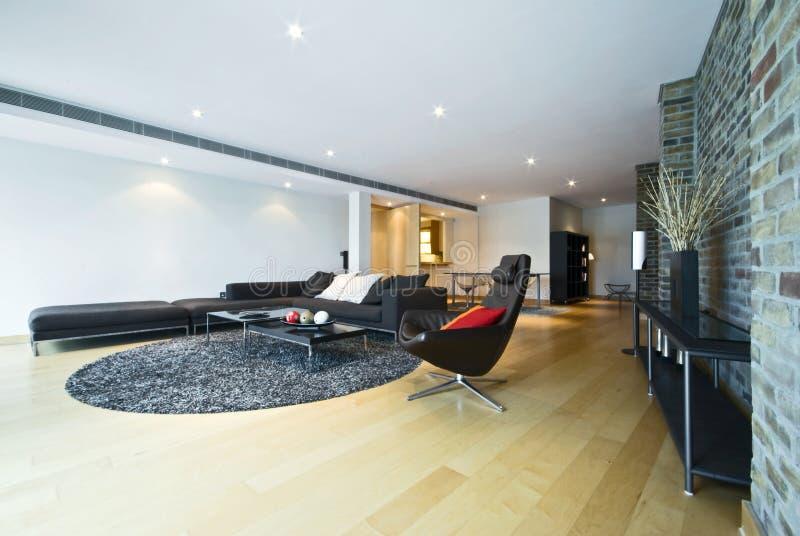 Zone vivante de luxe avec les meubles contemporains image libre de droits