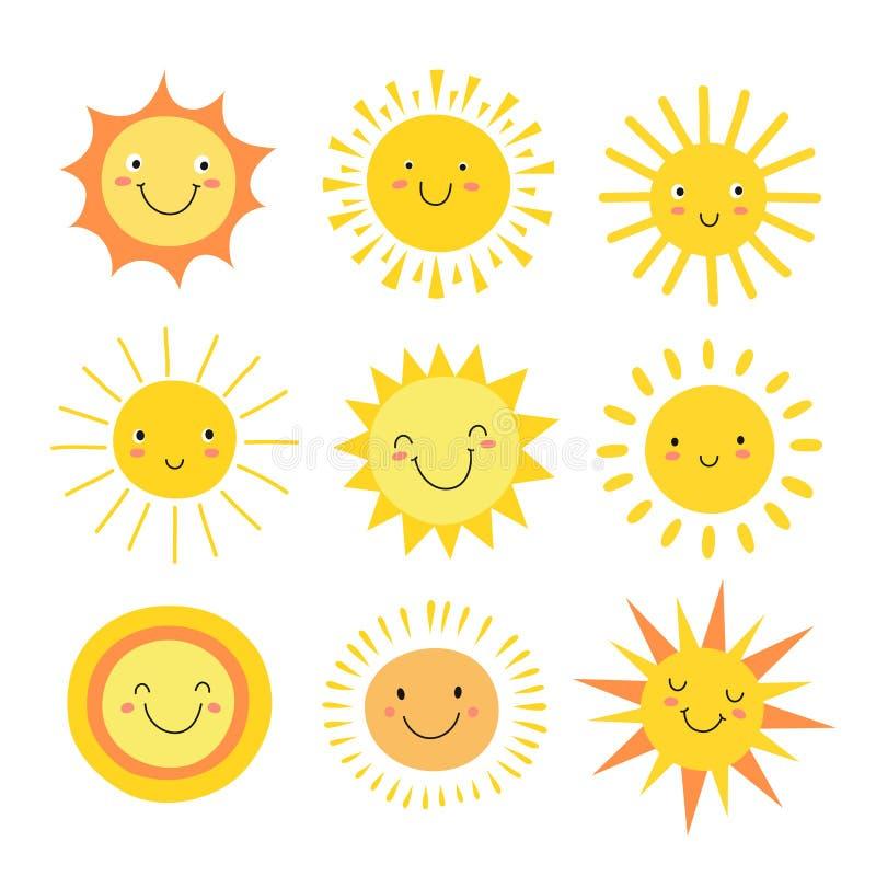 Zonemoji Grappige de zomerzonneschijn, de gelukkige ochtend van de zonbaby emoticons Beeldverhaal zonnige het glimlachen gezichte vector illustratie