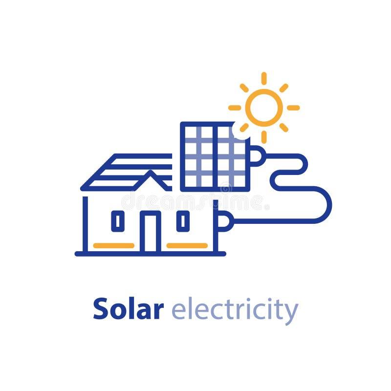 Zonenergie, zonnepanelen, huisoplossing, de lijnpictogram van de elektriciteitsdiensten stock illustratie