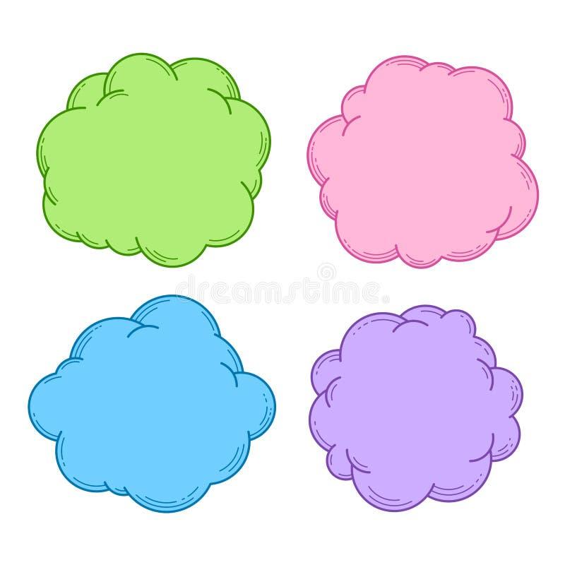 Zones de texte collection, ensemble de bulles de la parole et de pensée, élément de conception, cadre ou fond pour le texte, la p illustration de vecteur