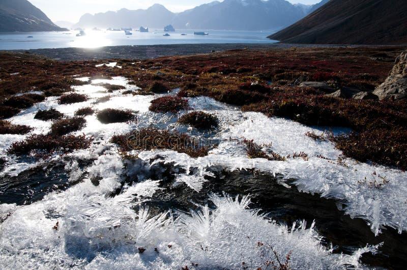 Zonglans over Noordpoolijsvorst stock afbeelding
