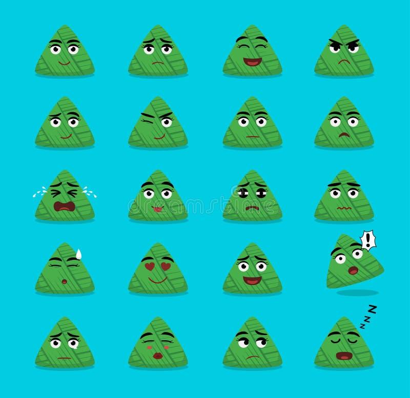 Zongzi Cartoon Emoticon Faces Vector Illustration. Food Vector EPS10 File Format royalty free illustration