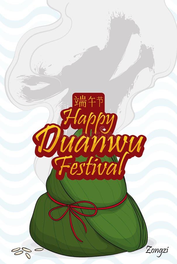 Zongzi Dumpling with Dragon in the Steam Celebrating Duanwu Festival, Vector Illustration. Fresh zongzi dumpling, steam like dragon form and wave pattern in the stock illustration