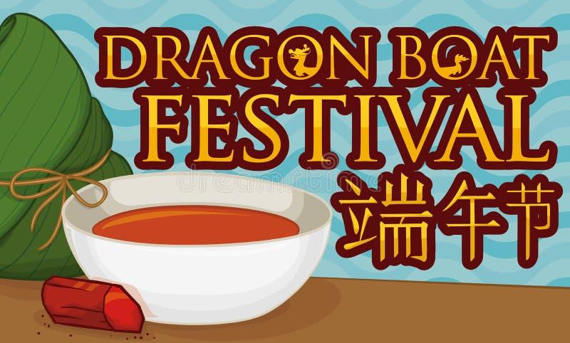 Zongzi Dumpling, Realgar Wine Bowl and Mineral for Duanwu Festival, Vector Illustration. Banner with zongzi dumpling, crystal of realgar and wine served in a stock illustration