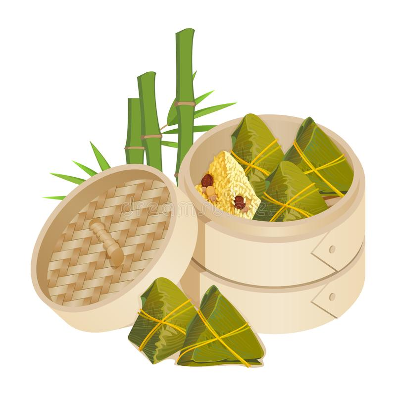 Zongzi in takeaway container isolated vector on white. Zongzi in takeaway container on background of bamboo plant isolated vector. Rice dumplings wrapped in vector illustration