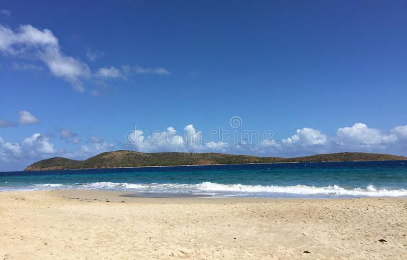 Zoni Beach, Culebra, Puerto Rico. Pristine Zoni Beach in Culebra Island boats of clear blue waters and picturesque views royalty free stock photos
