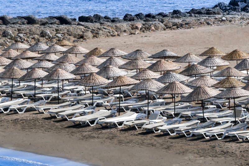 Zonlanterfanters en paraplu's op strand op een zonnige de zomerochtend stock fotografie