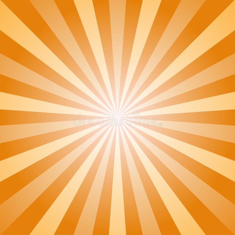 Zonlicht abstracte achtergrond De oranje en gouden achtergrond van de kleurenuitbarsting Vector illustratie De straal van de zons stock illustratie