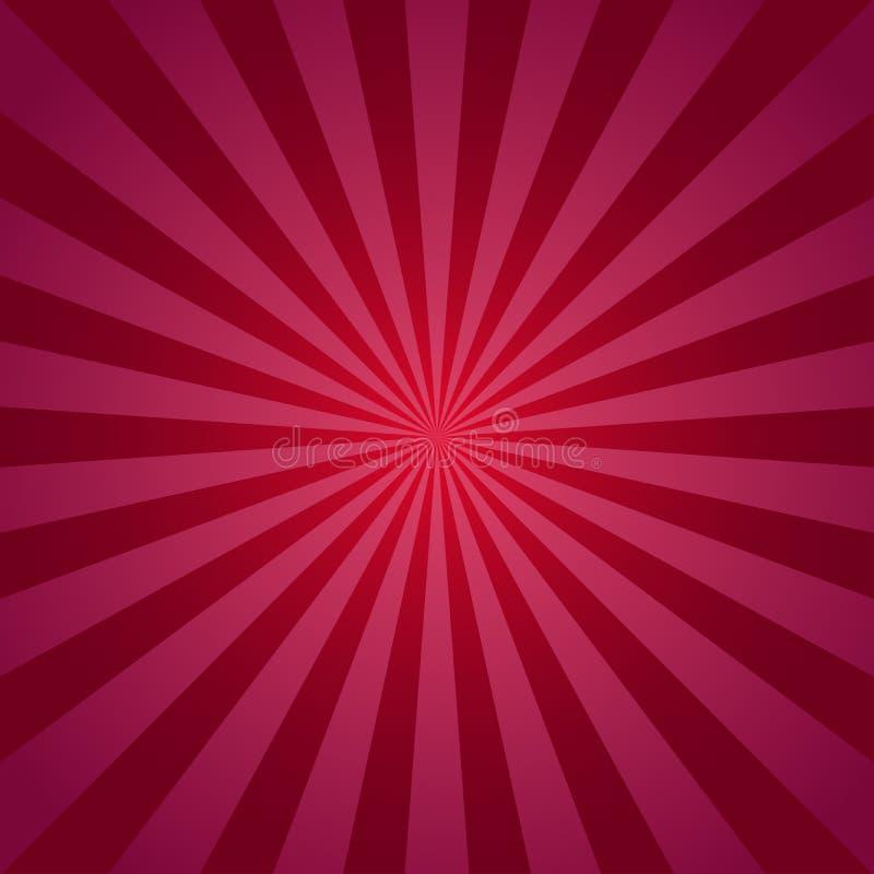 Zonlicht abstracte achtergrond Rode Uitbarstingsachtergrond Vector illustratie Het patroon van de de straalzonnestraal van de zon vector illustratie