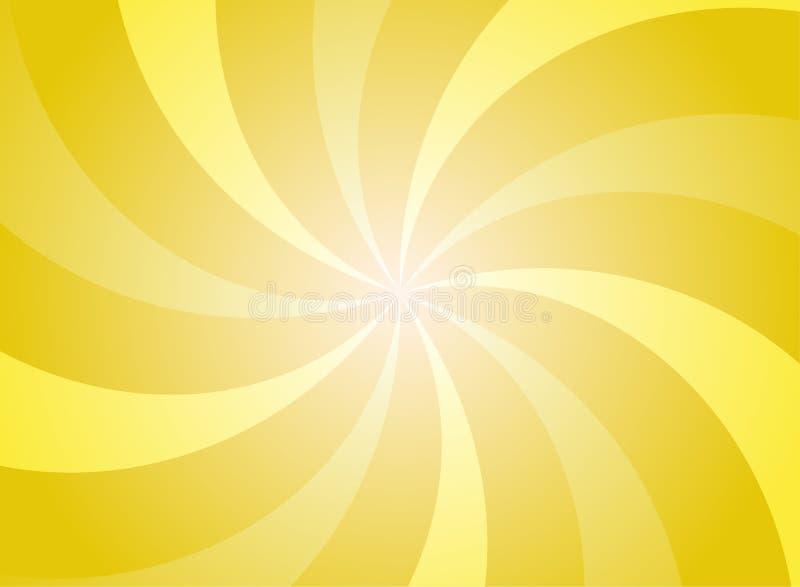 Zonlicht die brede achtergrond wervelen De heldere gele achtergrond van de kleurenuitbarsting vector illustratie