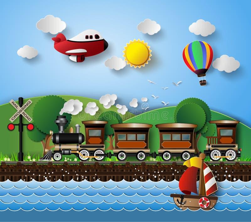 Zonlicht op wolk met Vervoer en Voertuigen stock illustratie