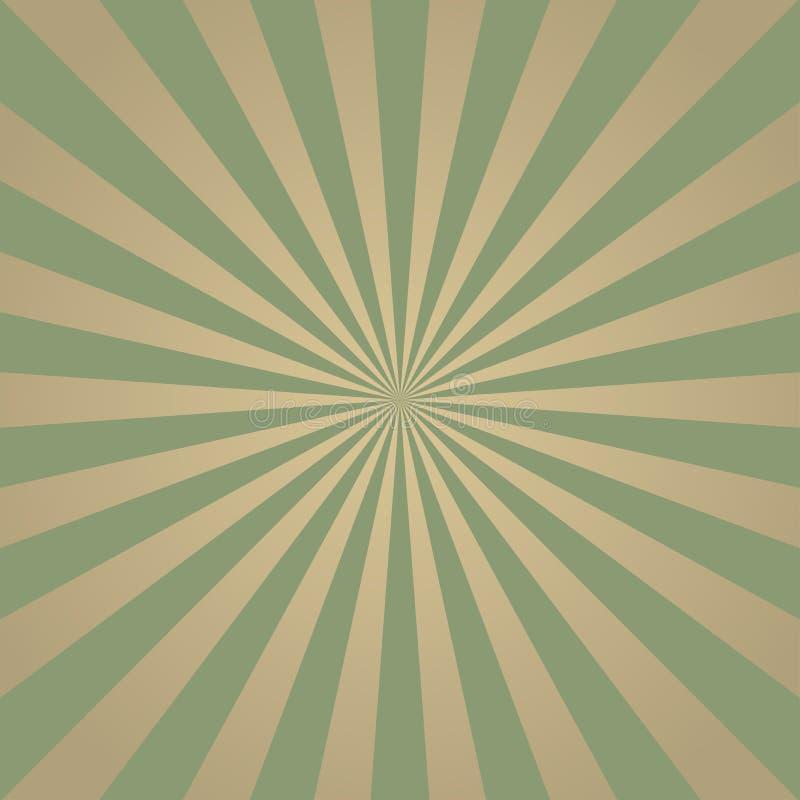 Zonlicht retro langzaam verdwenen grunge achtergrond de vuile groene en beige achtergrond van de kleurenuitbarsting Vector stock illustratie