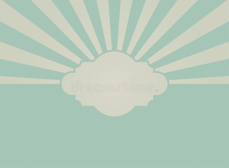 Zonlicht retro langzaam verdwenen grunge achtergrond met uitstekend kader voor tekst de blauwe en beige achtergrond van de kleure stock illustratie