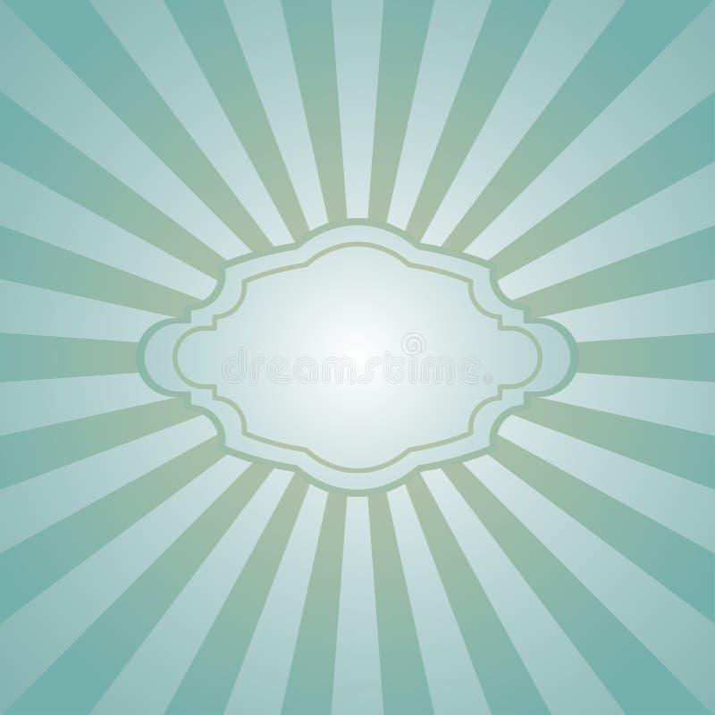 Zonlicht retro langzaam verdwenen grunge achtergrond met uitstekend kader voor tekst de blauwe en beige achtergrond van de kleure royalty-vrije illustratie