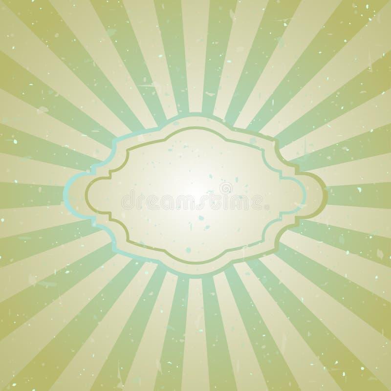 Zonlicht retro langzaam verdwenen grunge achtergrond met uitstekend kader voor tekst de groene en beige achtergrond van de kleure stock illustratie