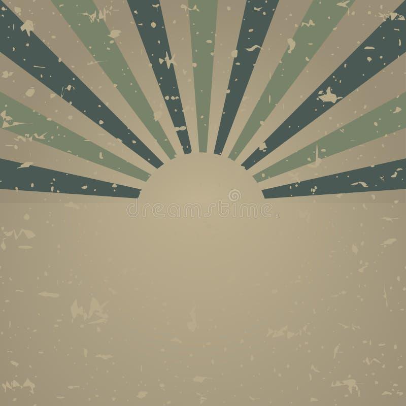Zonlicht retro langzaam verdwenen grunge affiche de vuile groene en beige achtergrond van de kleurenuitbarsting Vector illustrati royalty-vrije illustratie