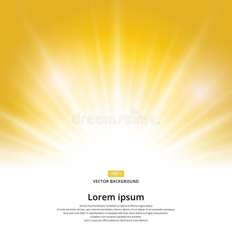 Zonlichteffect fonkeling op gele achtergrond met exemplaarruimte royalty-vrije illustratie