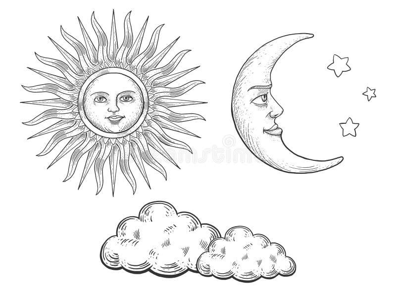Zonmaan met gezicht en wolken die vector graveren vector illustratie
