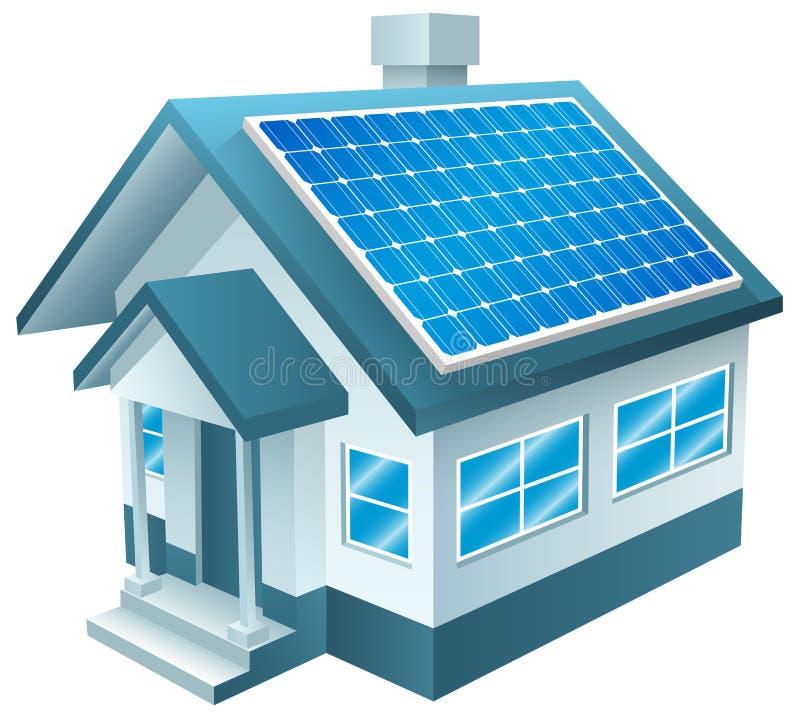 Zonne Aangedreven Huis, Zonnepanelen, Duurzame energie royalty-vrije illustratie