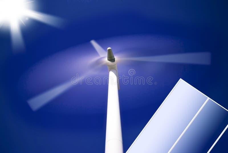 Zonne-energie en windenergie royalty-vrije stock foto