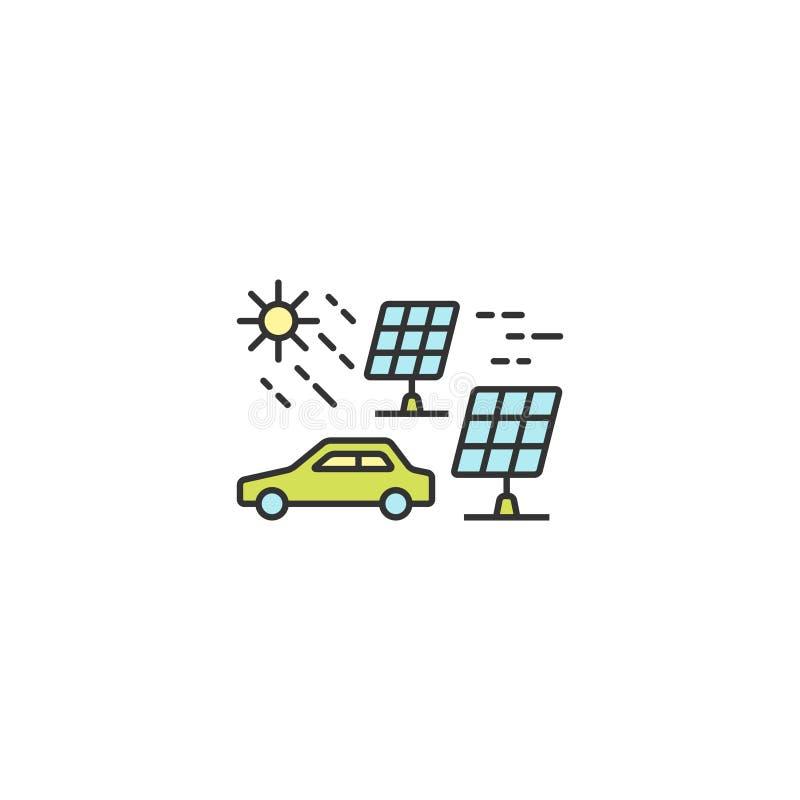 Zonne-energie voor het elektrische overzicht van het autopictogram, lineair, editable slag vectorvoorwerp vector illustratie
