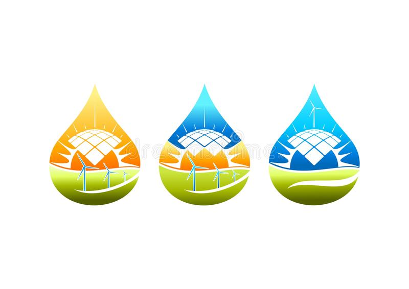 Zonne-energieembleem, windmolensymbool, pumb waterkrachtpictogram en natuurlijk elektrisch conceptontwerp stock illustratie
