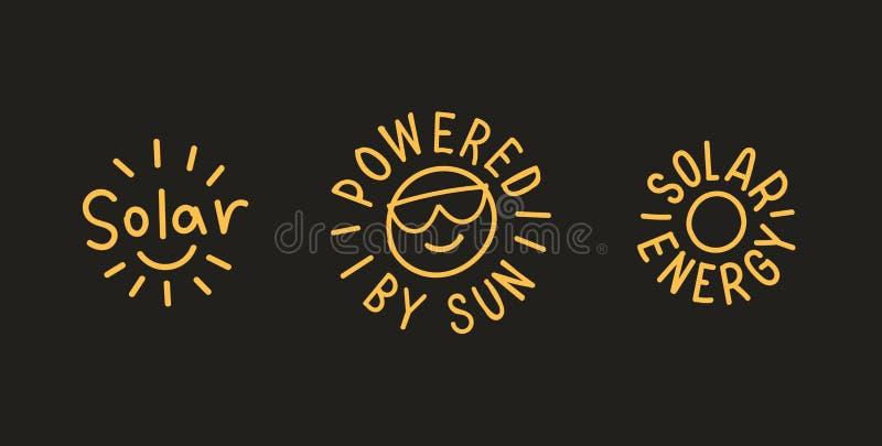 Zonne-energiekentekens Vector Eps 10 stock illustratie