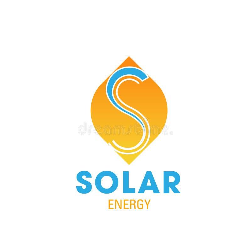 Zonne-energiepictogram voor de machtsadreskaartje van de ecozon royalty-vrije illustratie