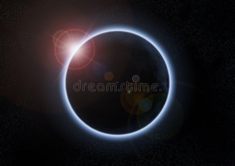 Zonne verduistering met maan tussen aarde en zon royalty-vrije illustratie
