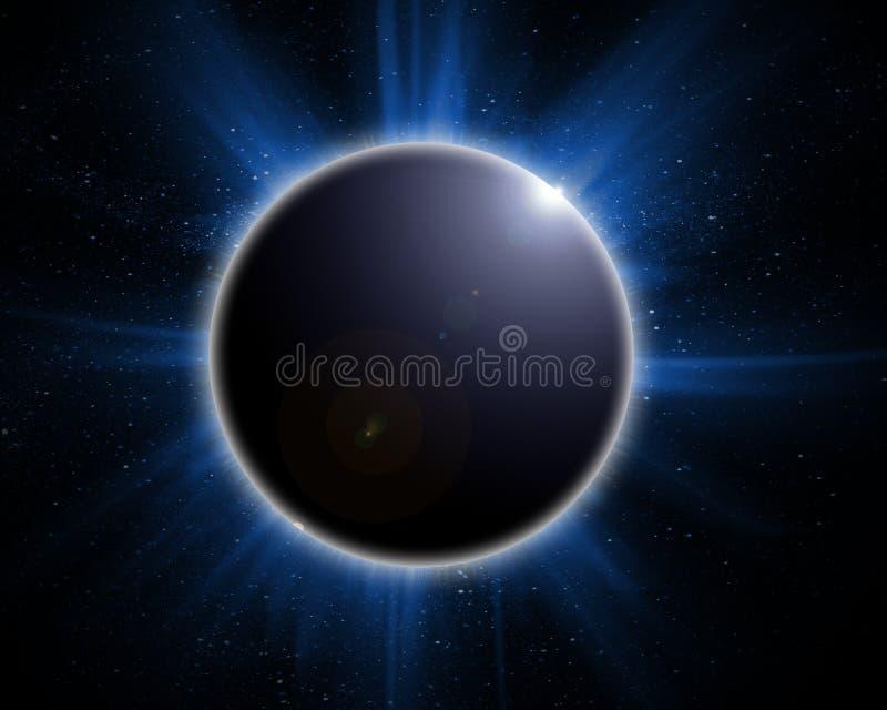 Zonne verduistering op een zwarte stock illustratie