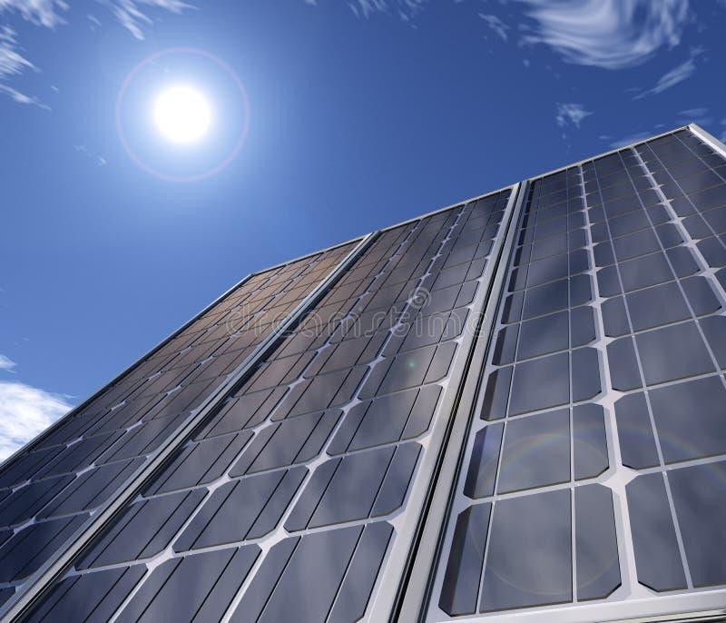 Zonnebatterij tegen de hemel stock illustratie