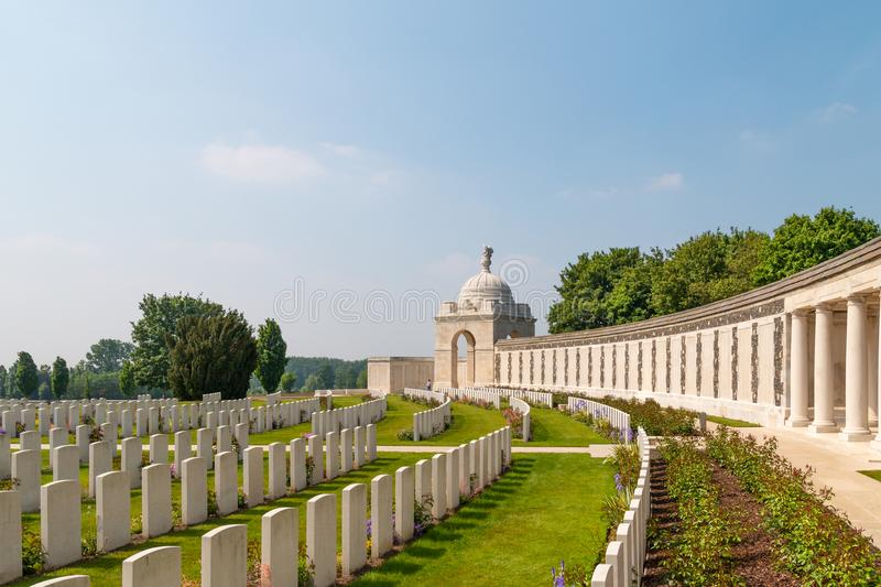 Tyne cot military cemetery in flanders fields. Zonnebeke, Belgium - Mai 20, 2018: Tyne cot military cemetery in flanders fields on a beautiful day royalty free stock image