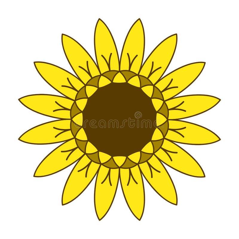 Zonnebloem het tuinieren embleemsymbool, ontwerp van de pictogram het vlakke stijl, vector stock illustratie
