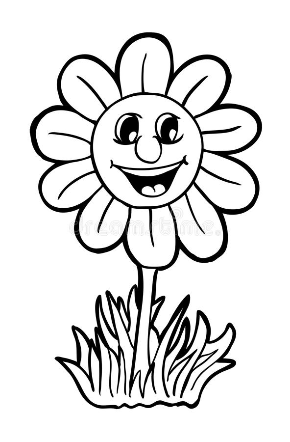 Zonnebloem met glimlach stock illustratie