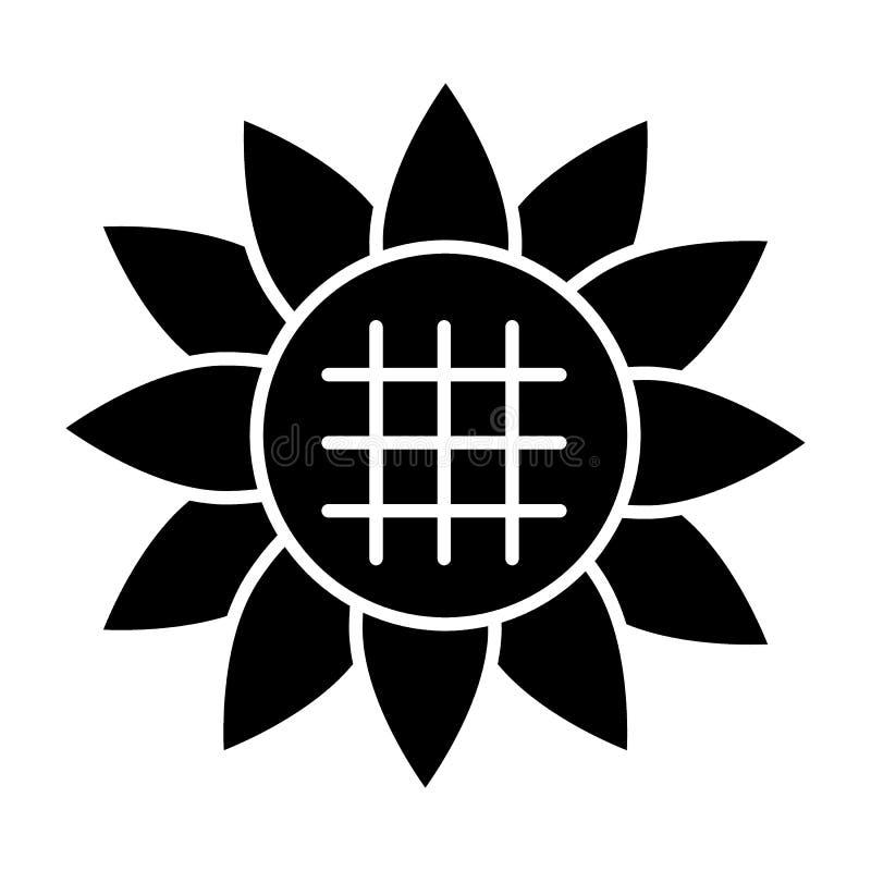 Zonnebloem stevig pictogram Bloem vectordieillustratie op wit wordt geïsoleerd Het bloemendieontwerp van de glyphstijl, voor Web  royalty-vrije illustratie