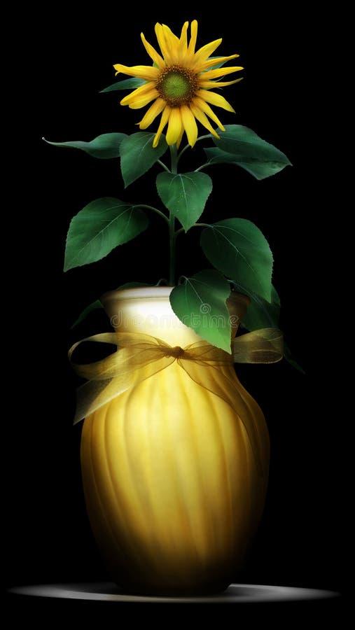 Zonnebloem in vaas stock afbeelding