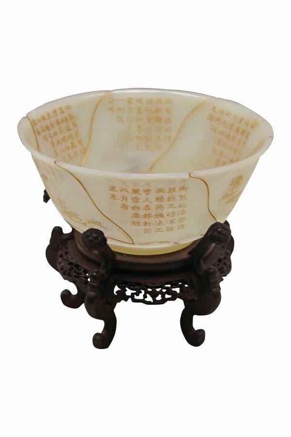 Zonnebloem-vorm Jade Bowl royalty-vrije stock foto