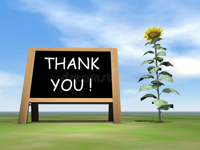 Zonnebloembord het zeggen dankt u - 3D geef terug vector illustratie