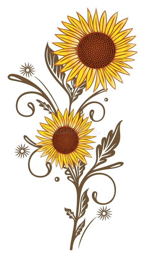 Zonnebloemen, bloem, bloemen vector illustratie