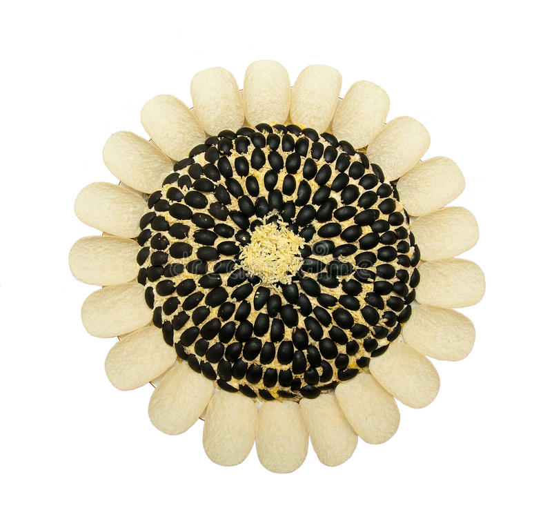 Zonnebloemen in de vorm van salade stock afbeeldingen